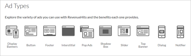 revenuehits publisher ad types